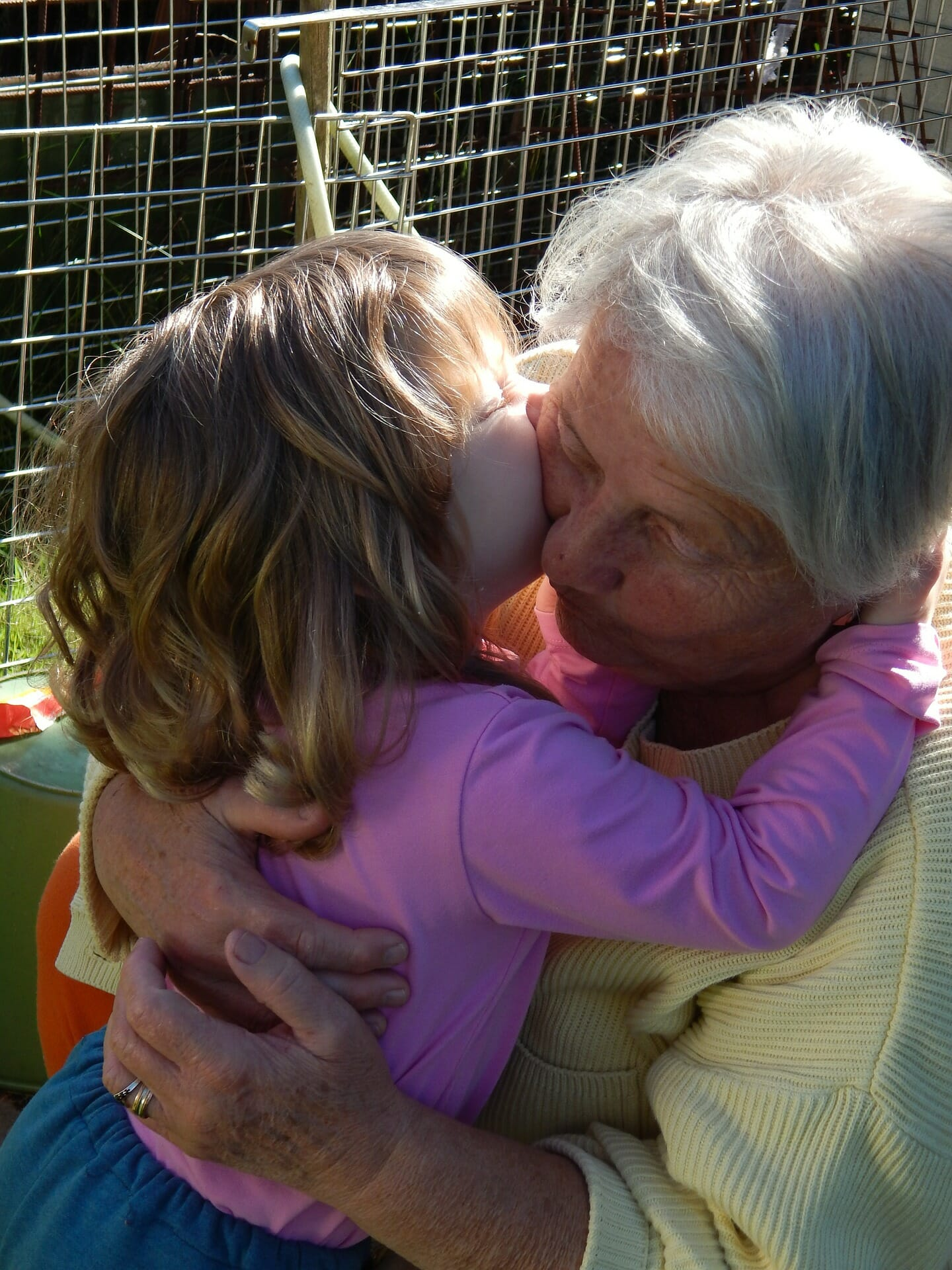 Granddaughter and Grandma Hugging
